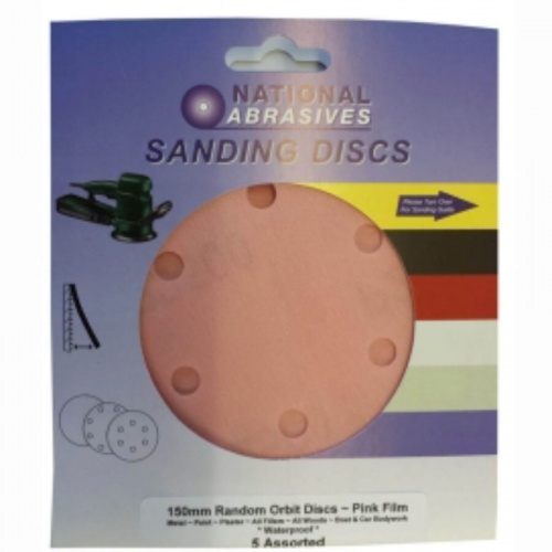 150mm R/O Sanding Discs Pink waterproof 5pk - Extra Course