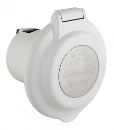 Inlet, 16A 230V, Round, No SS Trim, White