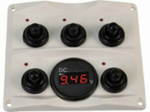 Switchpanel Antracite With Voltage Gauge 12/24v