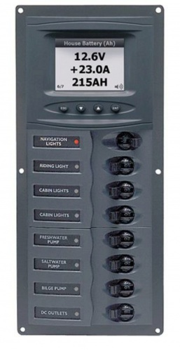 BEP 12v Dc Circuit Breaker Panel 8 Way Vert Digi Meter (901V-DCSM)