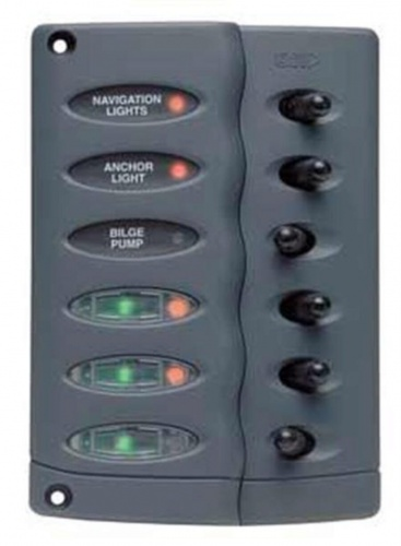 BEP Contour Switch Panel 6 Way With 3 Fuses (CSP6-F)