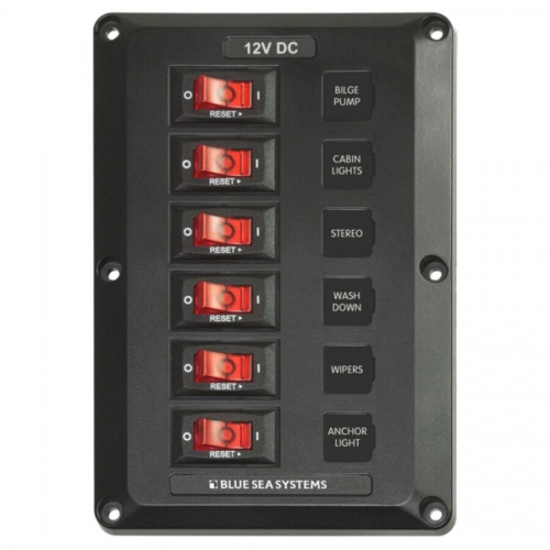 BlueSea Switch Panel - Below Deck 12V DC Circuit Breakers 6 Switches