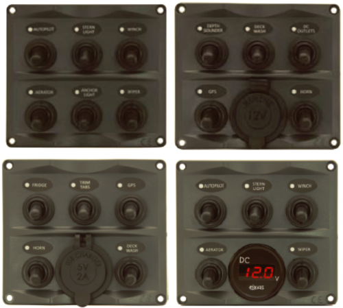 Toggle Switch Panels - With Digital Battery Gauge